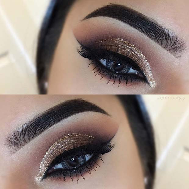 Brown und Gold Glitter Eye Look