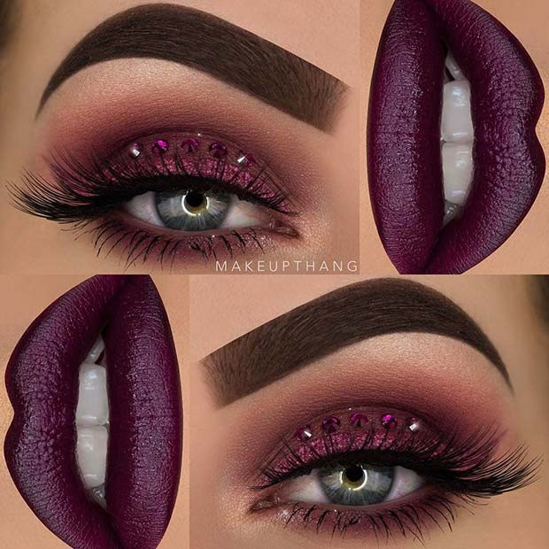 Glitzer und Edelsteine ​​Purple Eye Makeup Look
