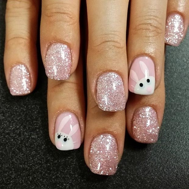 Pink Sparkly Ostern Nail Design