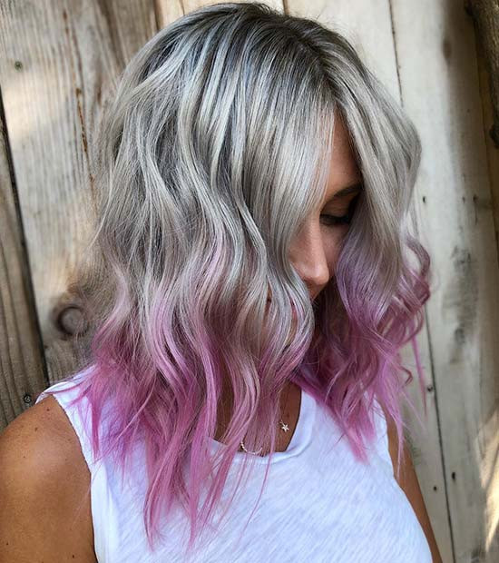 Icy Blonde bis Purple Ombre Hair