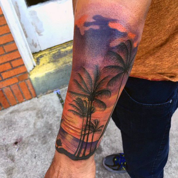 Männliche Unterarm Sleeve Palm Tree Beach Sunset Tattoo