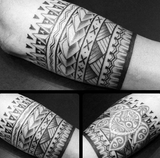Detaillierte Herrenarmband Tribal Tattoo Inspiration