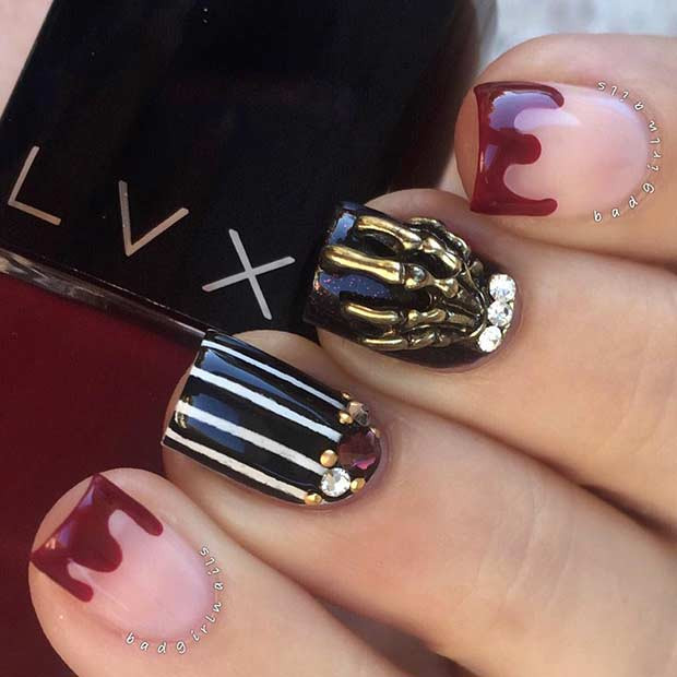 Scary Claw Halloween Nail Art Design