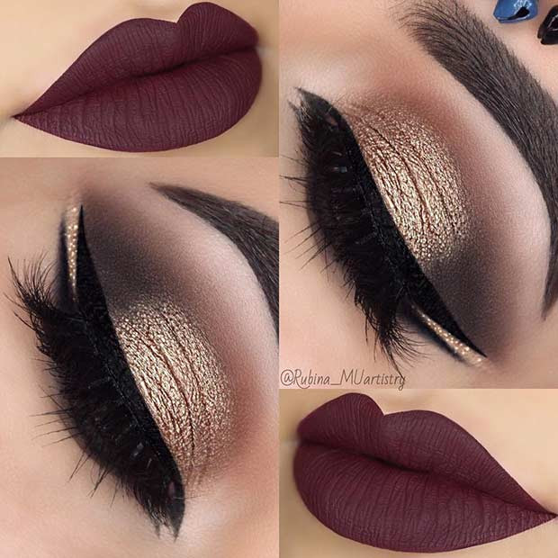 Gold Smokey Eye Dark Plum Lips Weihnachtsmakeup
