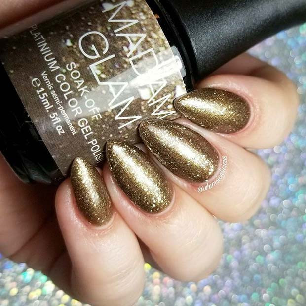 Glam Gold Shimmer Nails