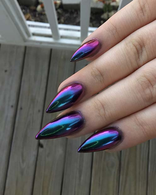 Chrome Mermaid Stiletto Nails