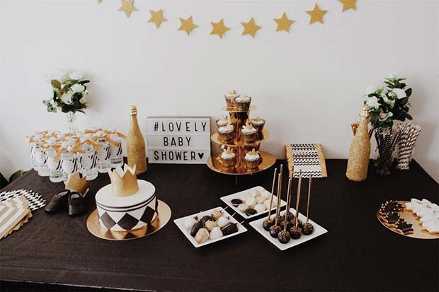 Glam Food Table für Babyparty