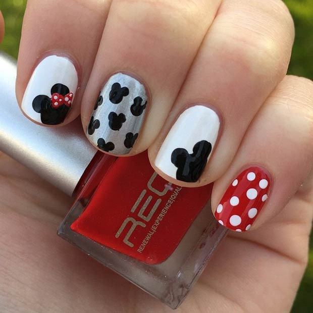 Einfaches Mickey Minnie Nail Design