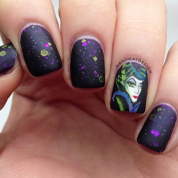 Maleficent Nail Art Design