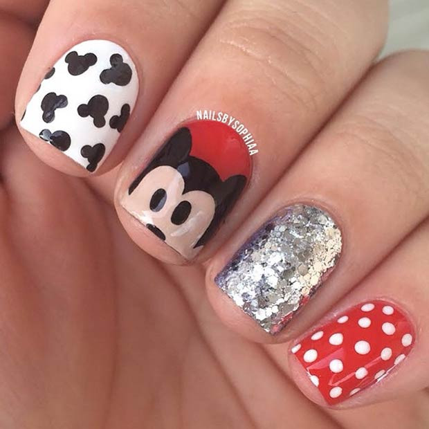 Mickey Mouse Nail Art Design