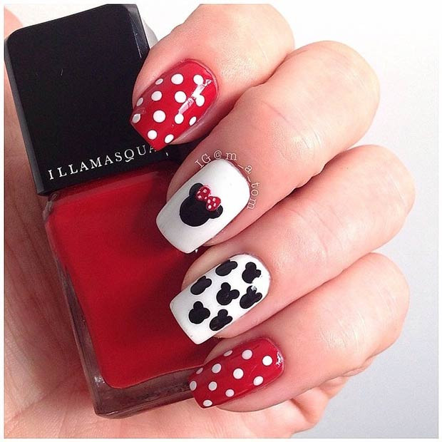 Disney Minnie Nail Art Design