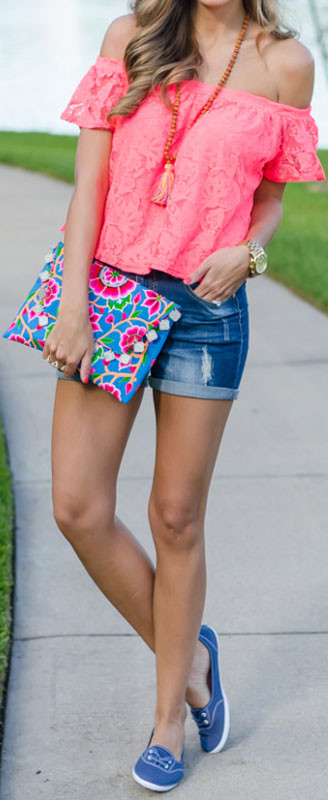 Neonrosa Top Denim-Shorts
