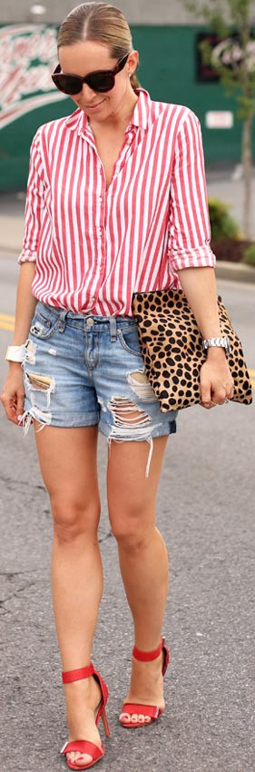 Gestreiftes Hemd Denim-Shorts